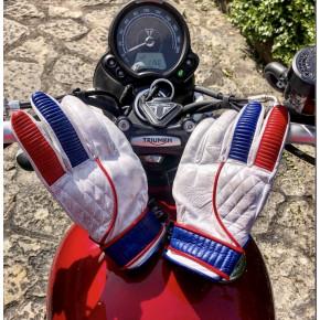 Cool Garage Adventure motor handschoenen wit/blauw/rood