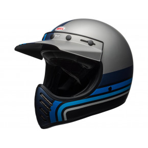 BELL Moto-3 Helmet Mat Silver/Black/Blue Stripes