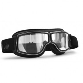 Bertoni goggle AF188A zwart leer/chroom helder